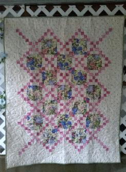 Country Lanes Lap Quilt - blue, pink, and green floral with pink crossroads - 47 x 59, $225.