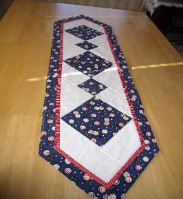 Dining Delight Table Runner - red and white peppermint candies on navy - 12 x 47, $38.